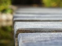 Lärchenholz-Steg mit Rauhreif