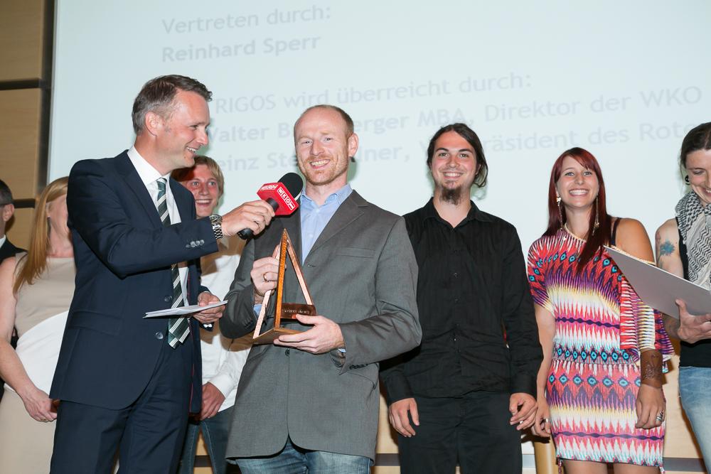 Gala-Moderator Klaus Obereder (ORF OÖ), Reinhard Sperr und sein Team