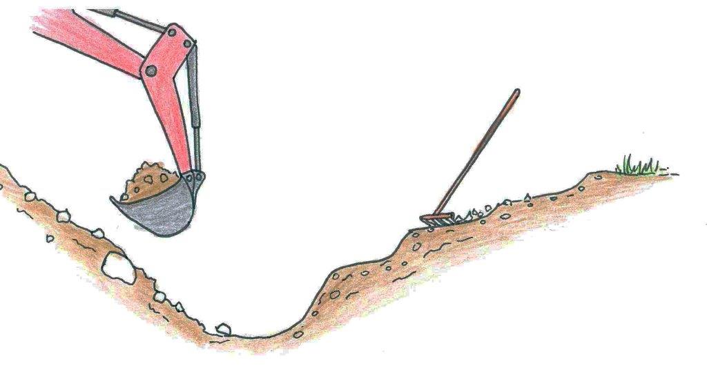 Aushubarbeiten beim Biotopbau mittels Bagger