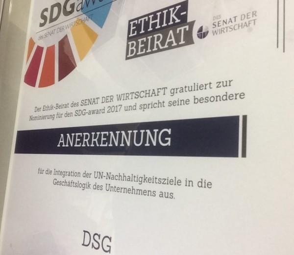 SDG-Award für Gartengestaltung DSG, Senat der Wirtschaft