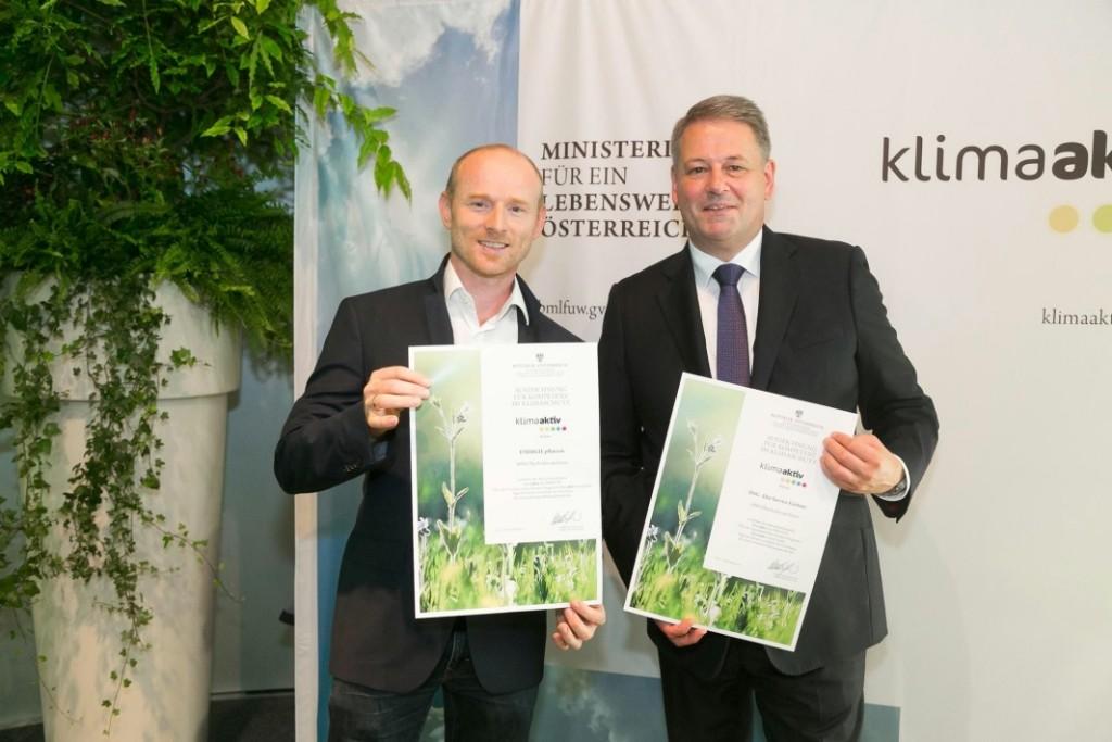 klimaaktiv-Partner Der Service Gaertner mit Umweltminister Rupprechter